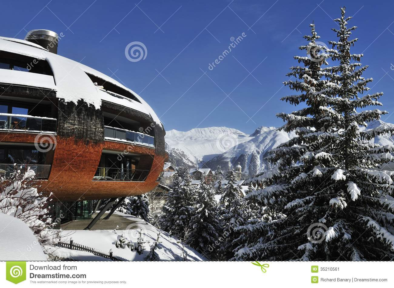 Modern architecture editorial photo image of futuristic for Designhotel ski
