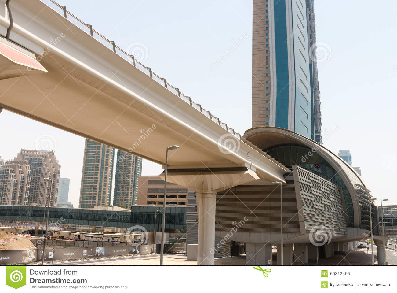 Modern architecture of a monorail commuter train station for Dubai architecture moderne