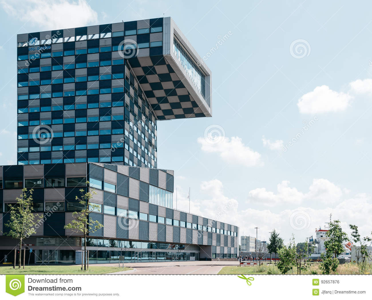 Modern architecture office building in rotterdam editorial photo