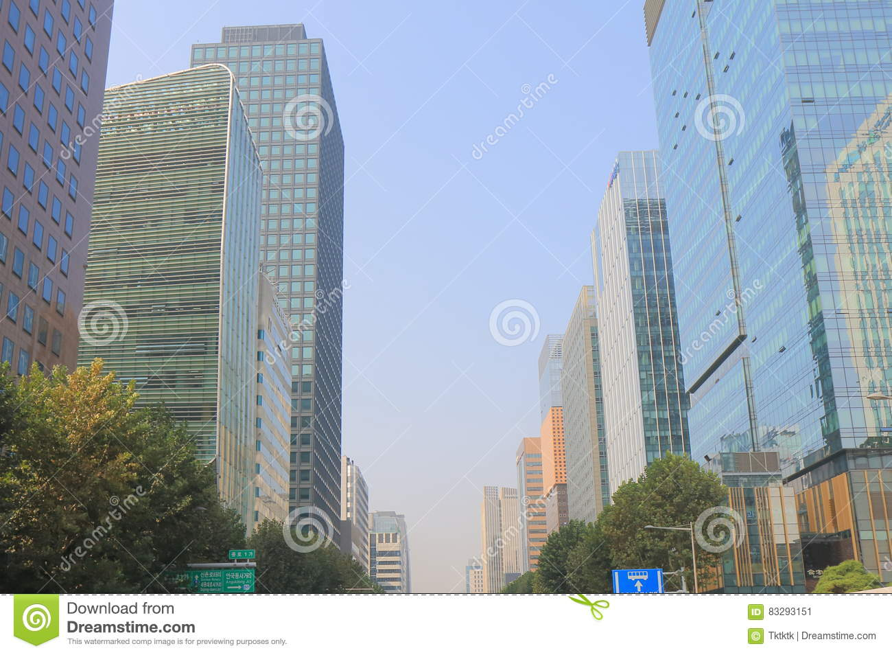 Modern Architecture Office Building Seoul South Korea Stock