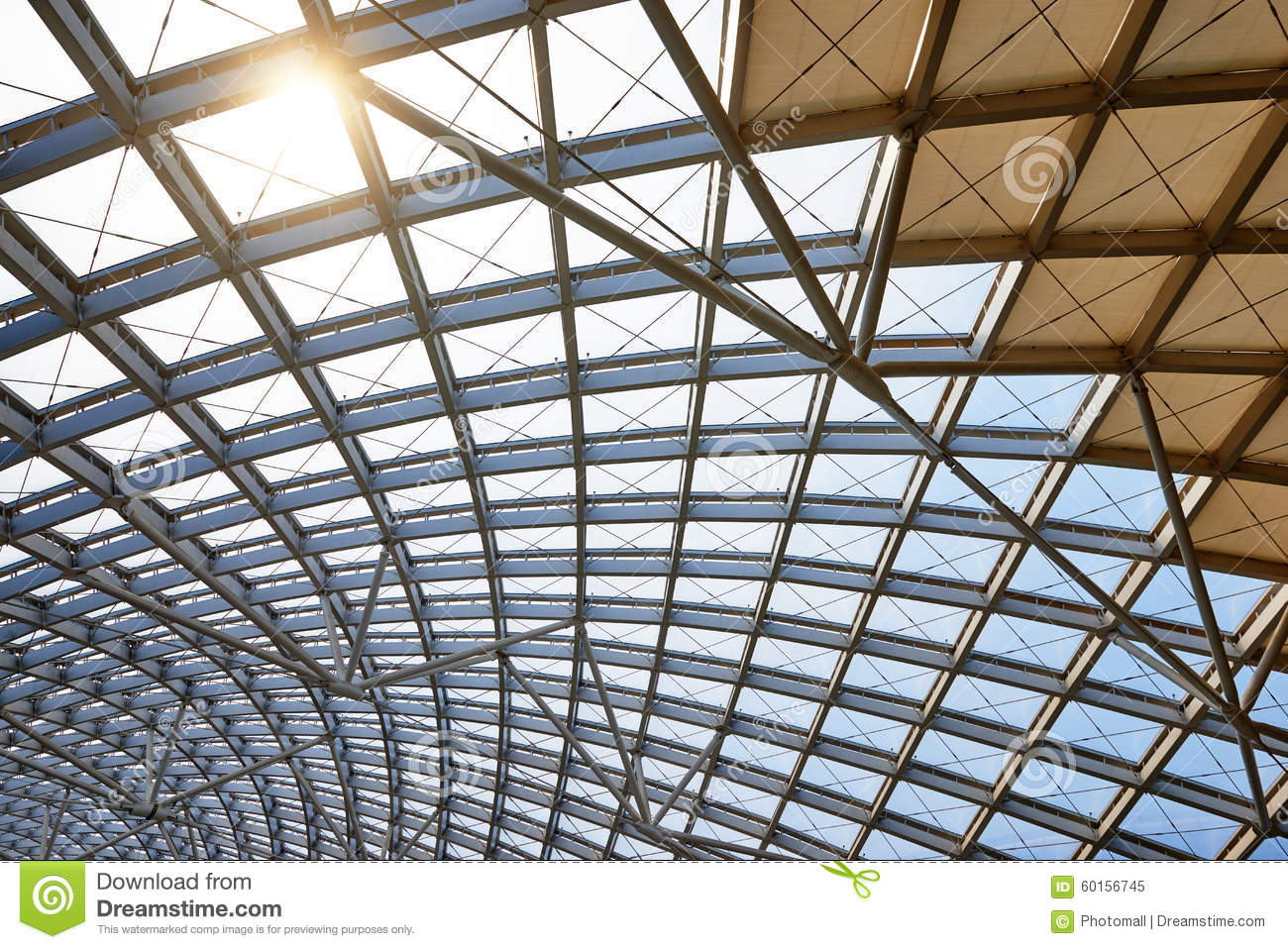 Modern architecture roof structure construction site