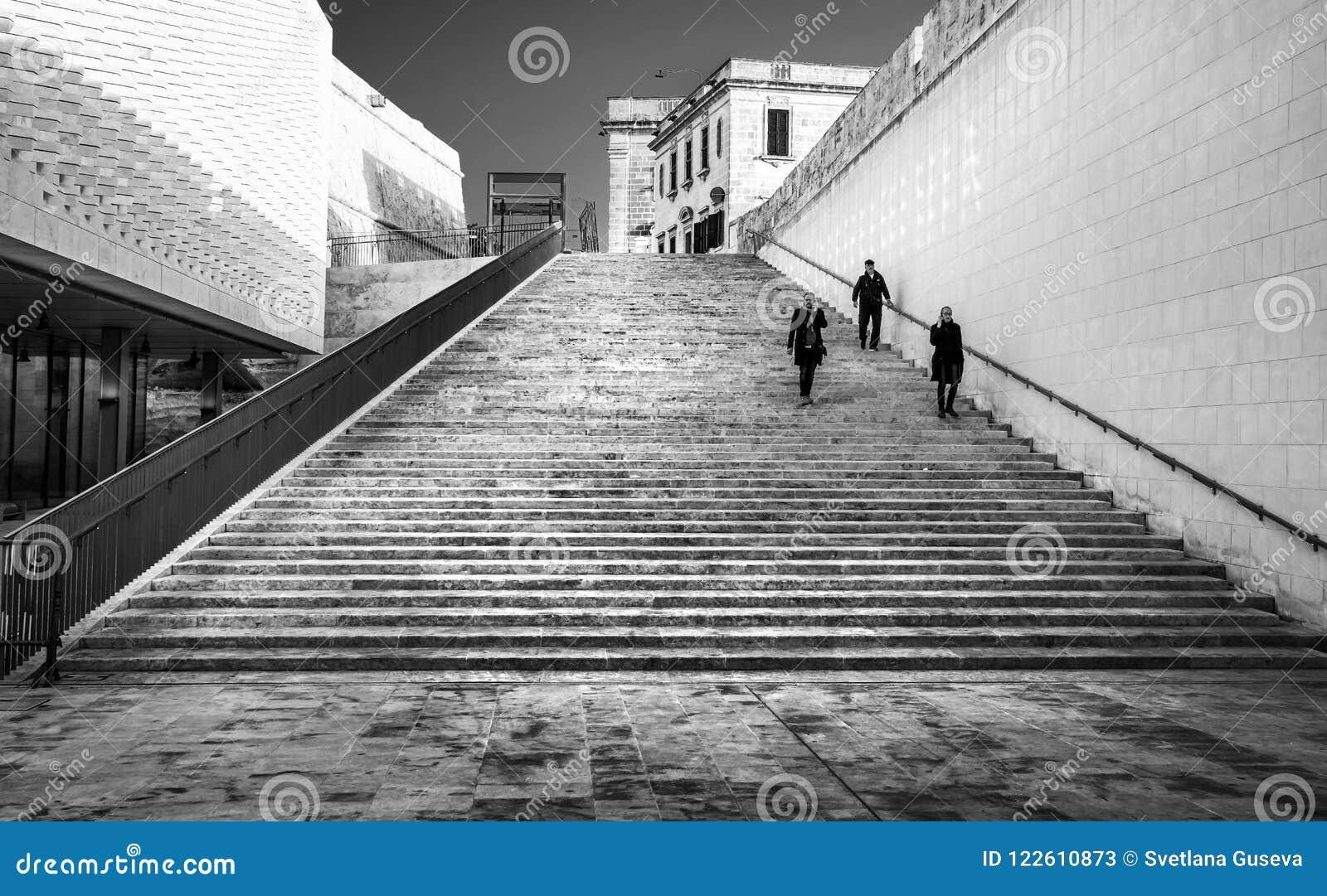 modern architecture of valletta malta black and white