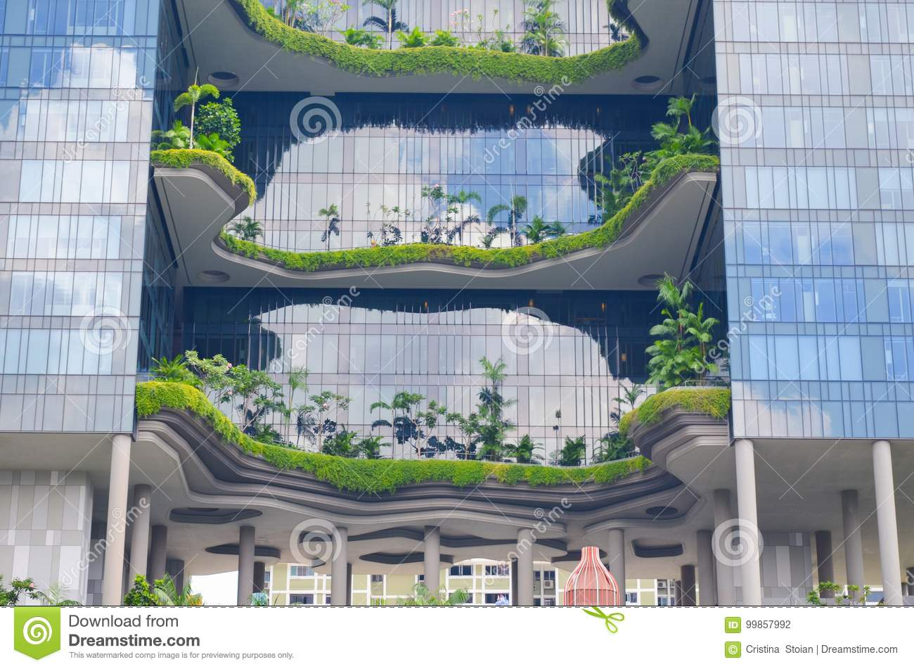 Modern Architecture And Vertical Gardens Of Singapore Stock Photo