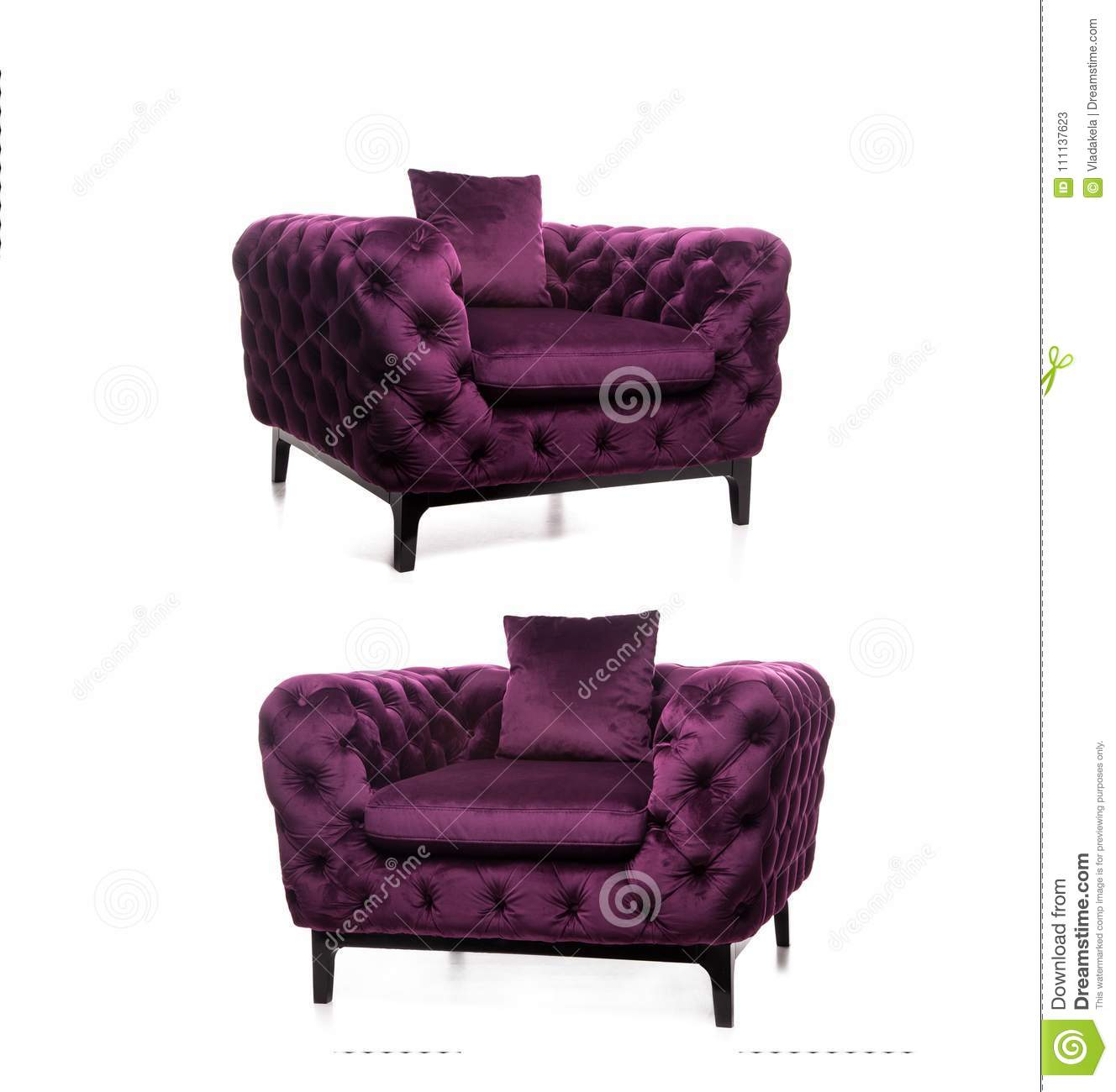 Modern Armchair, Luxurious Armchair,Violet Armchair,dark Purple