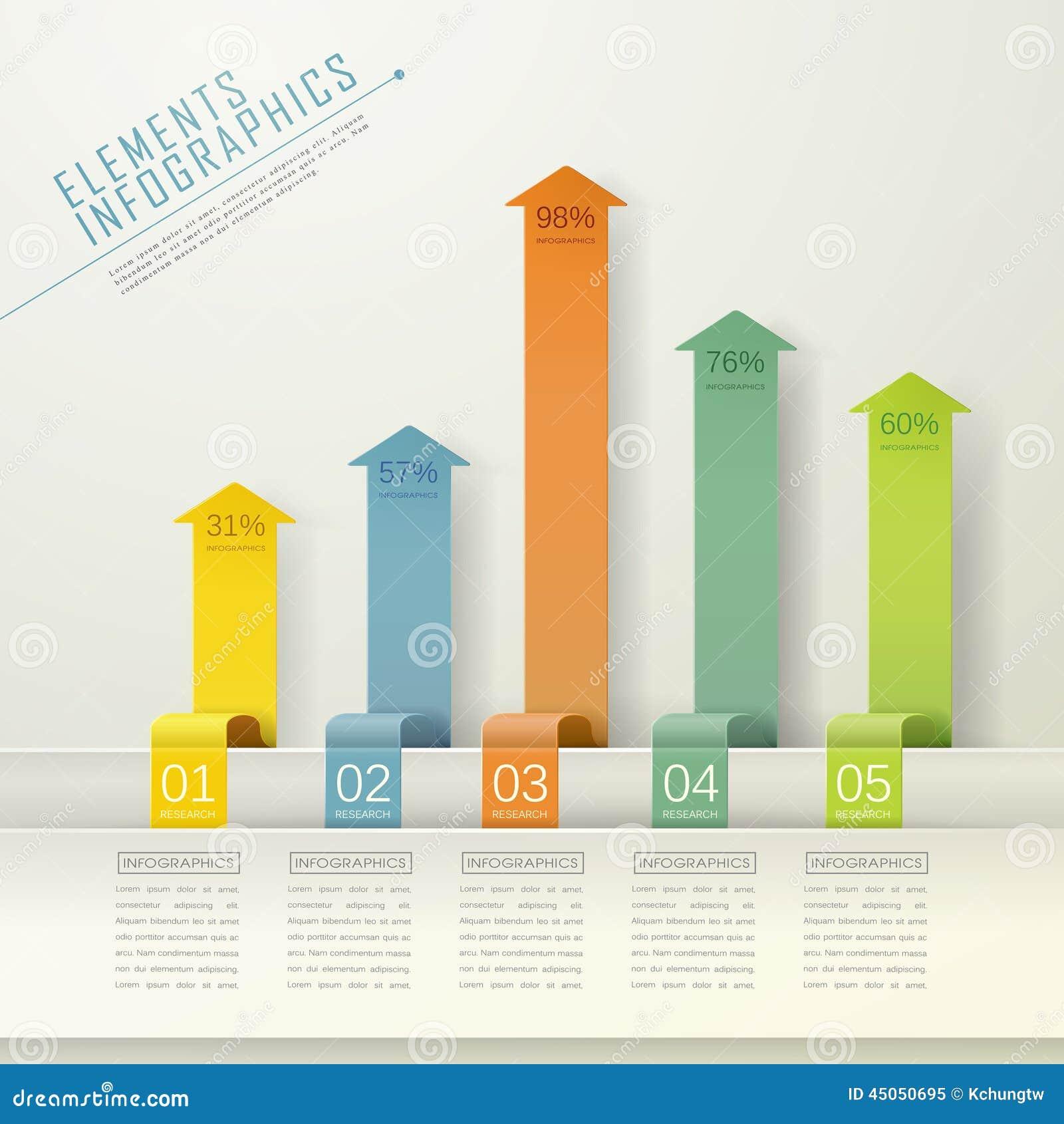 modern arrow bar chart infographic elements stock vector