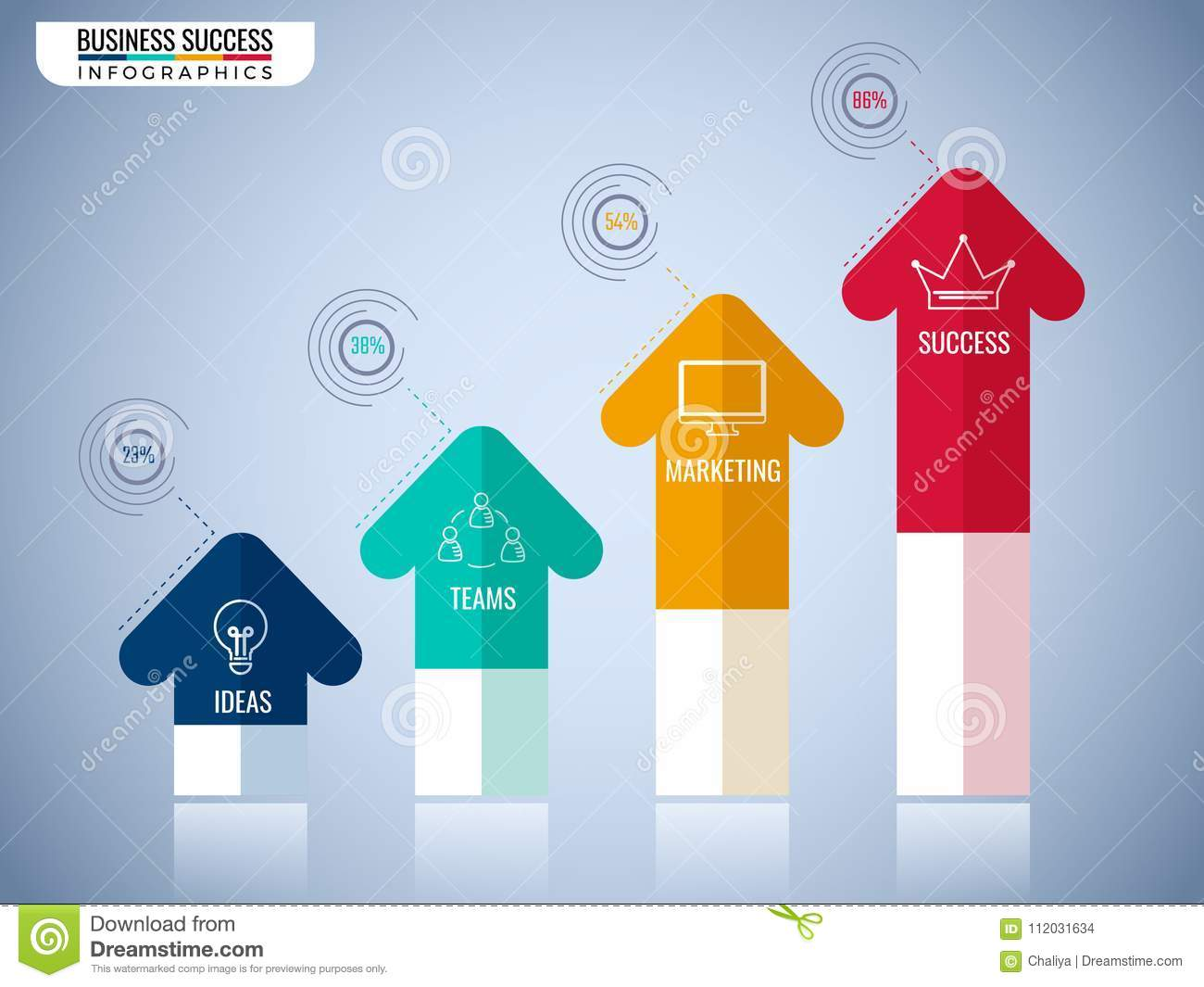 Modern arrow infographics elements. Step to success business concept infographic template. Can be used for workflow layout