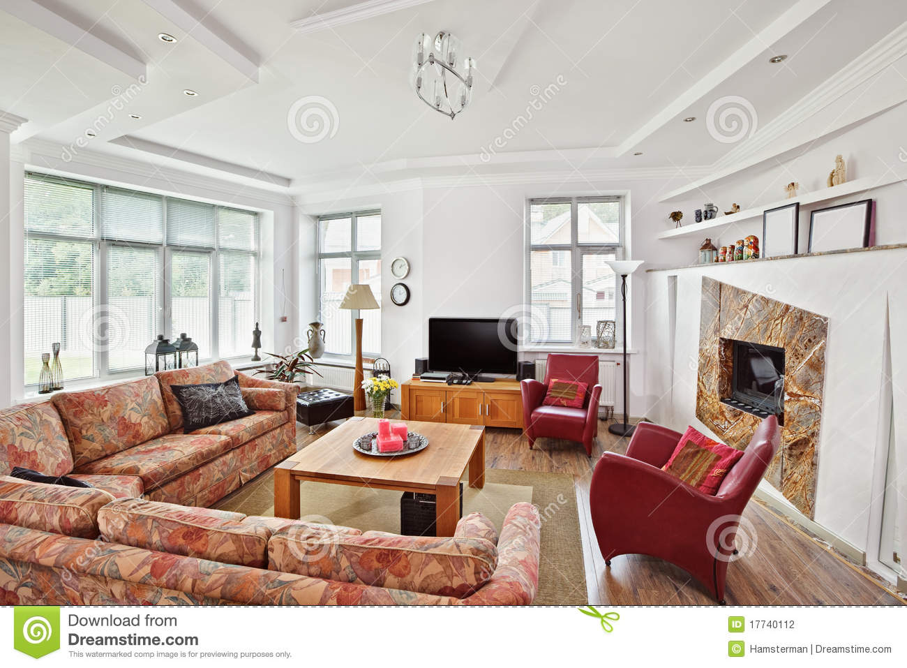 Modern art deco style drawing room interior stock photo - Decoration interieur salon moderne ...