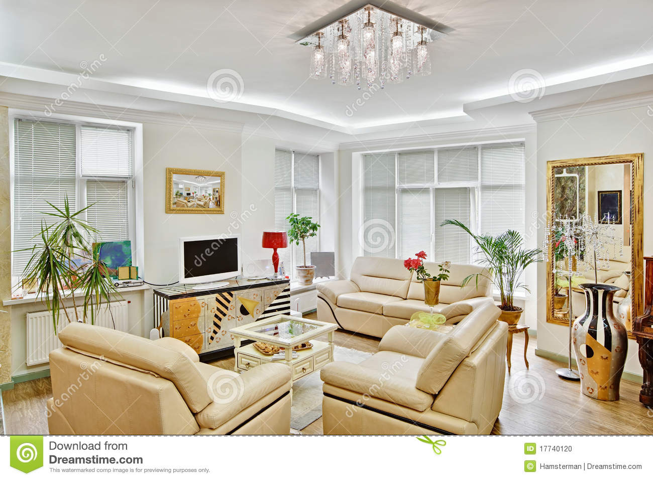 Modern Art Deco Style Drawing Room Interior Stock Photo