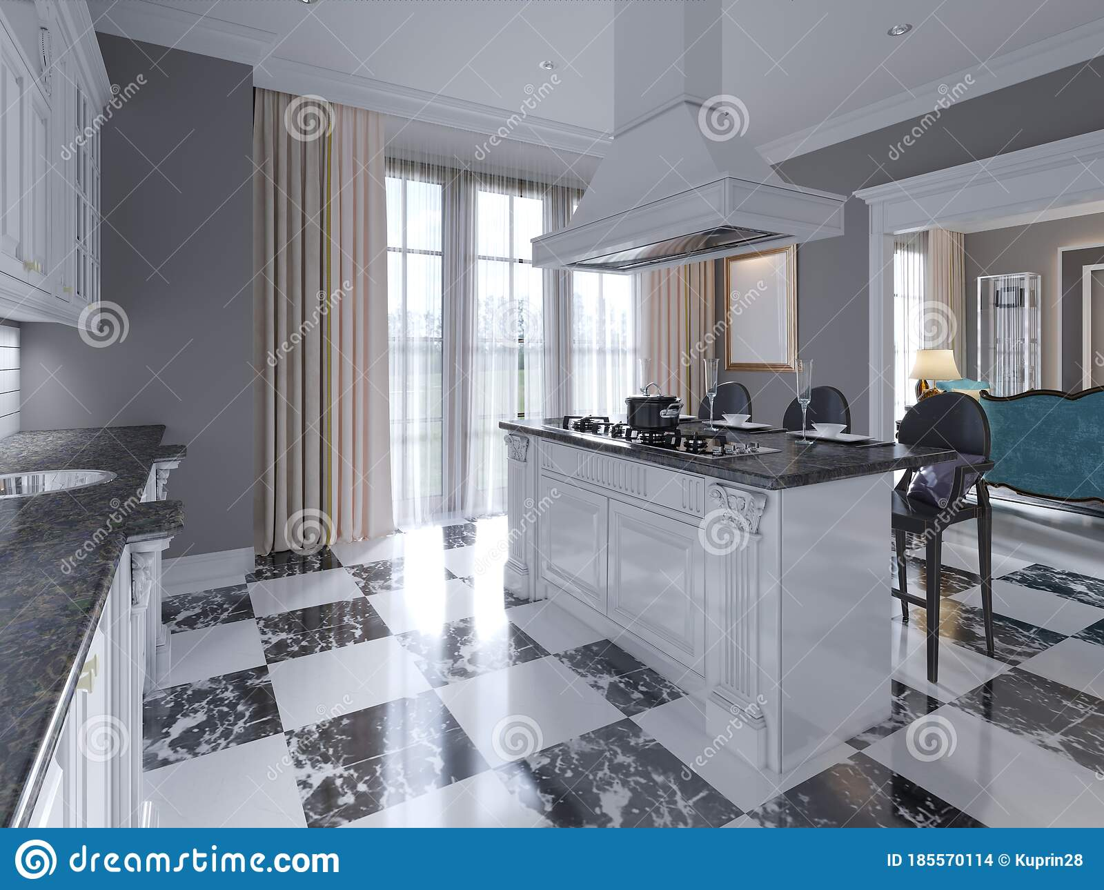 Modern Art Deco Style Kitchen With Trendy Black And White Furniture And A Chess Marble Floor Kitchen Island Bar Stool Stock Illustration Illustration Of Ceramic Fashion 185570114