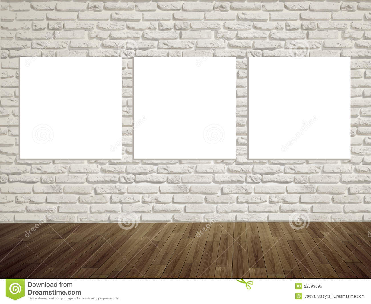 Modern Art Gallery Empty Picture On The Wall Stock Photo