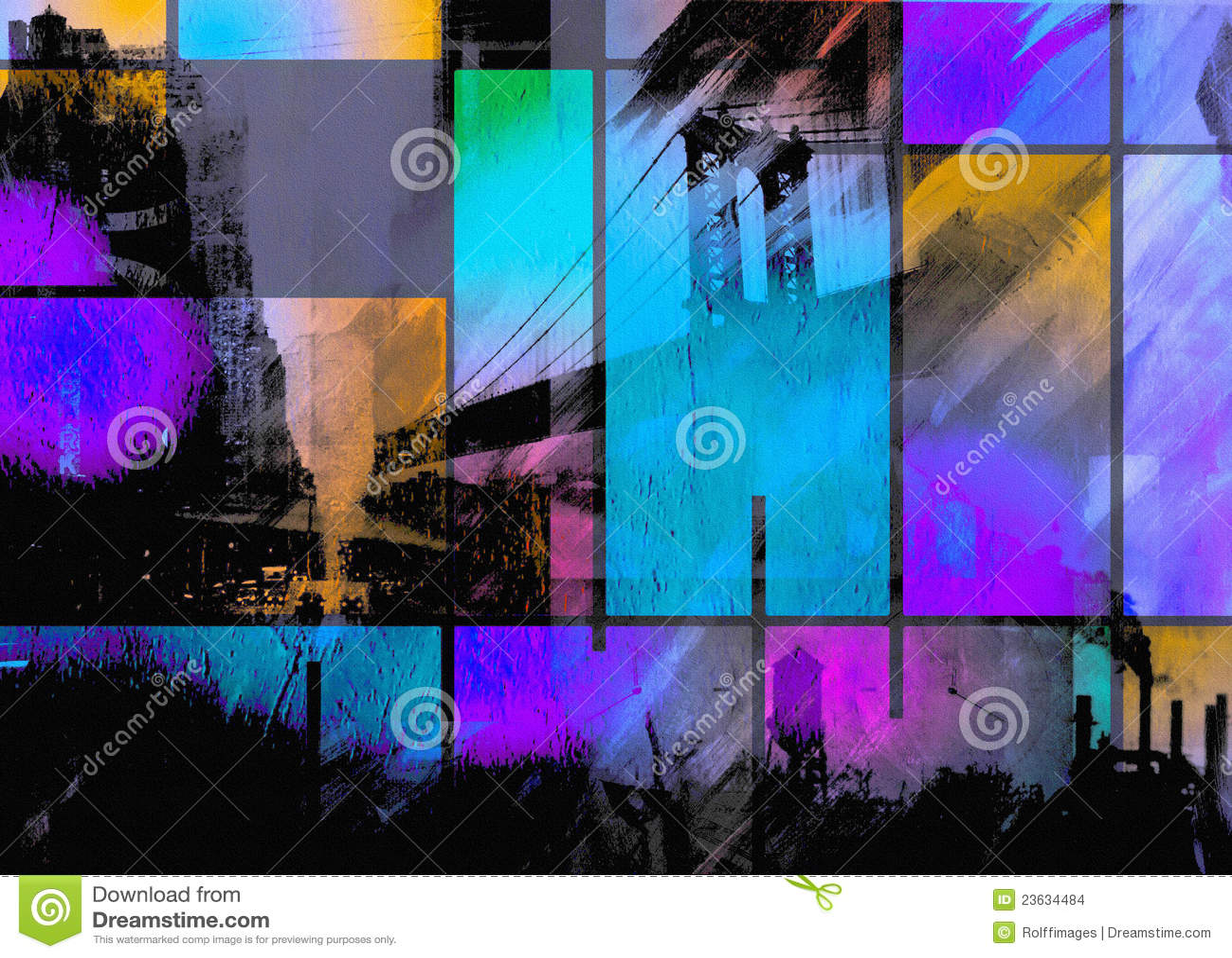 Modern art inspired city abstract