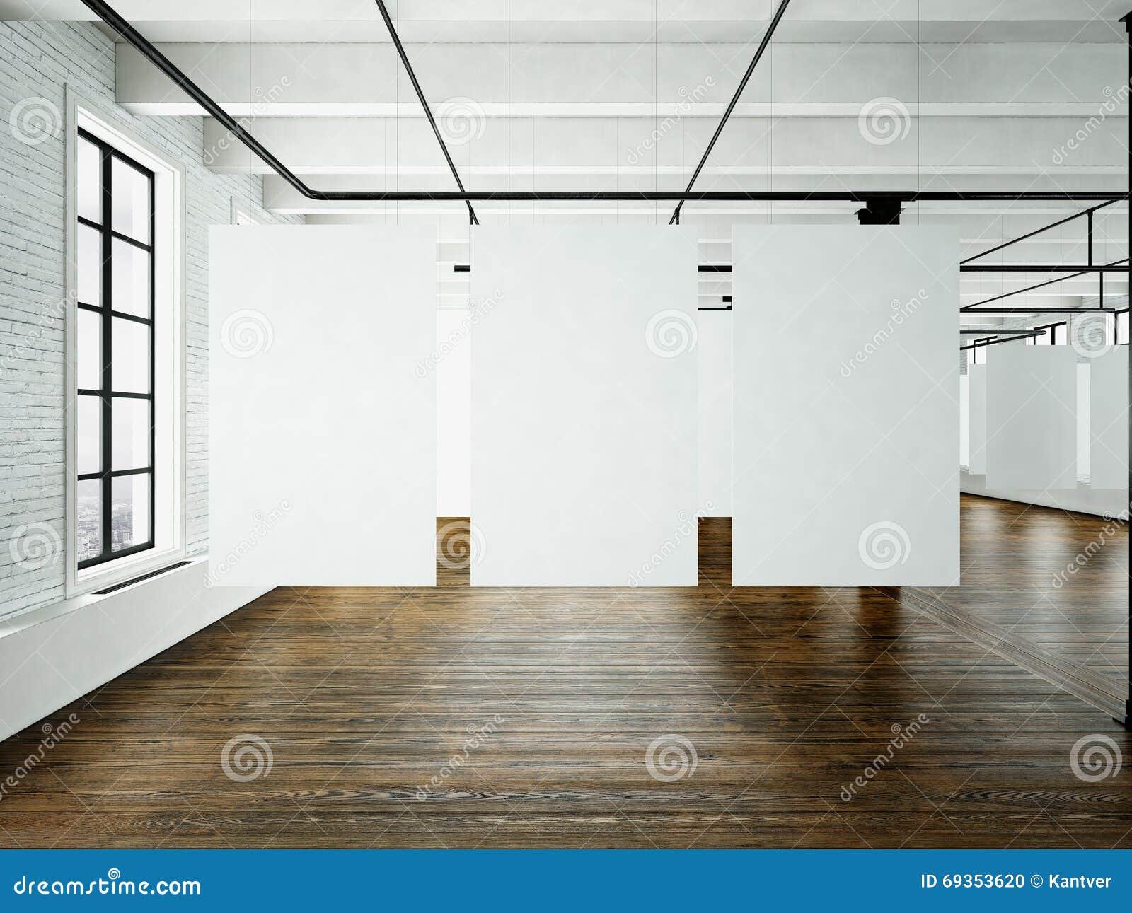 Modern Art Museum Expo In Loft Interior Open Space Studio