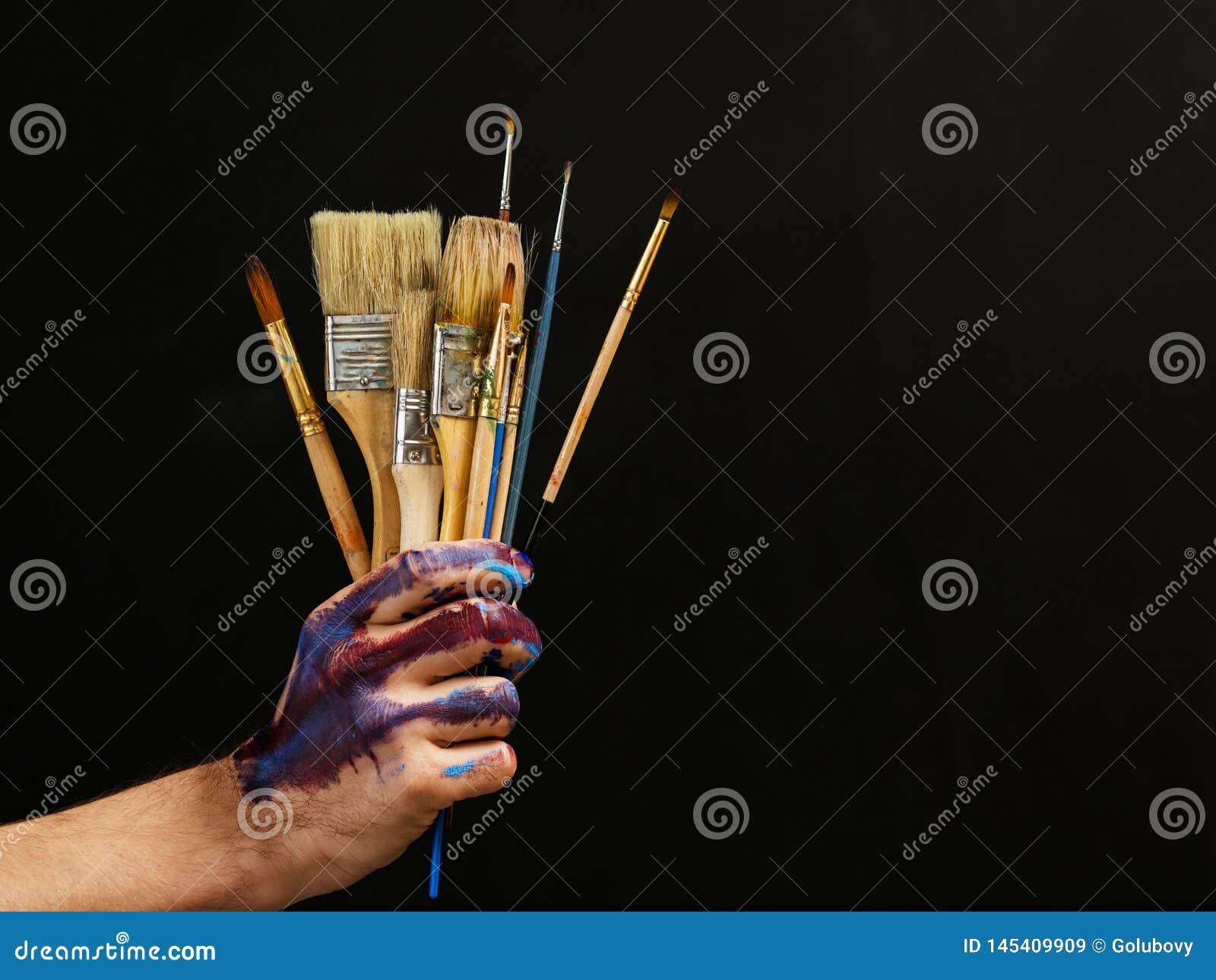 Modern art painter essential tools paintbrushes