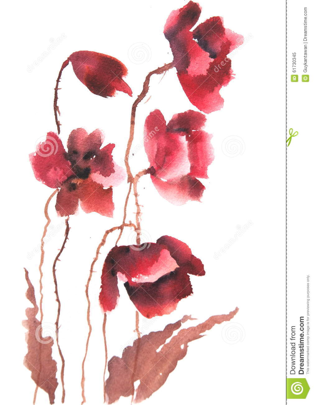 Modern Art Of Red Poppy Flowers Watercolor Painting Stock