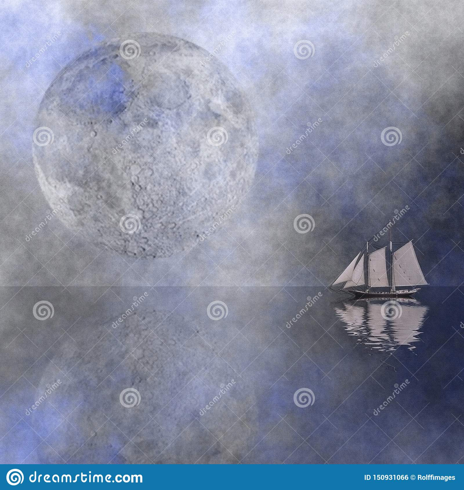Moon Sail stock illustration  Illustration of mood, clouds