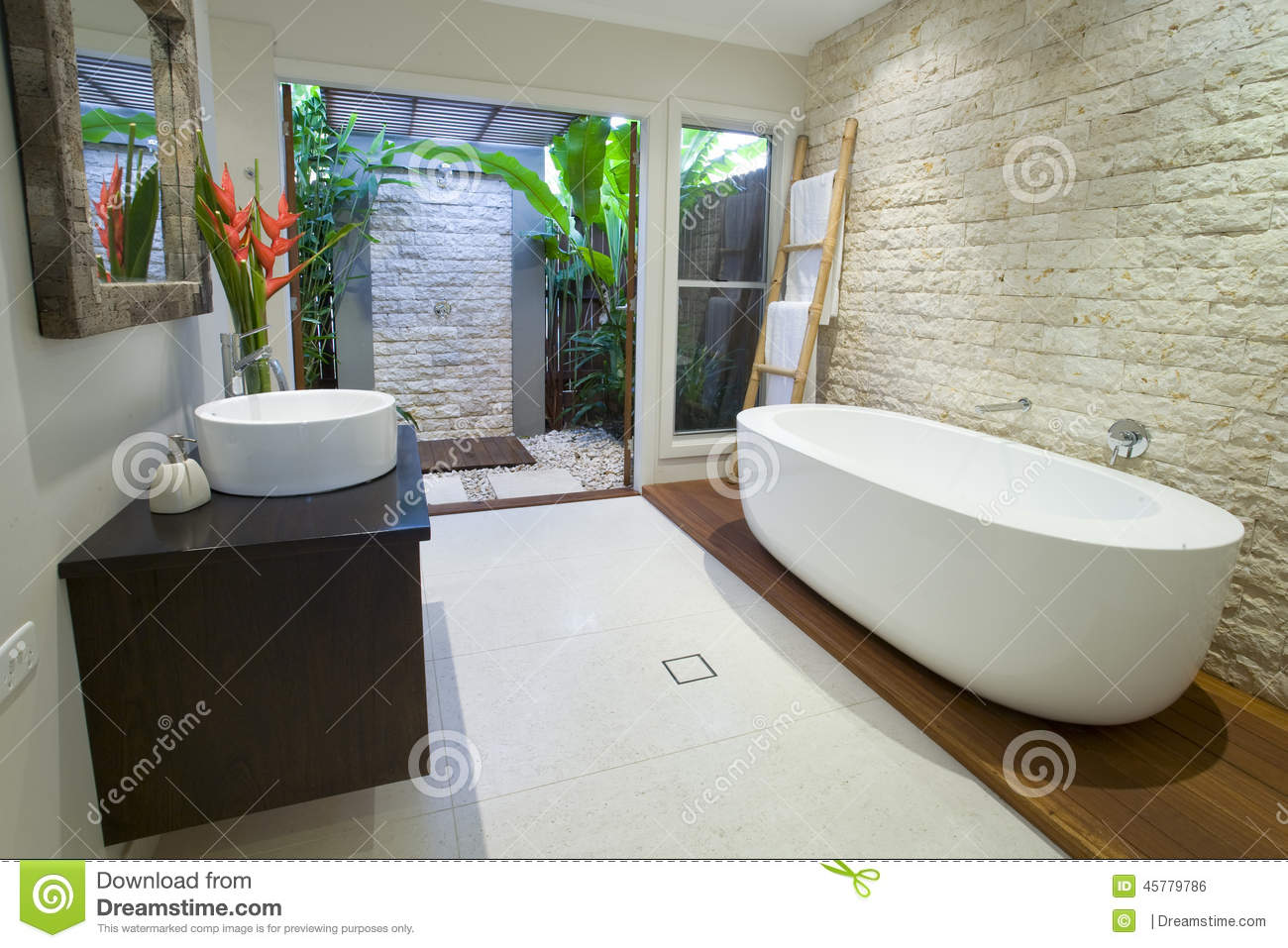 Modern asian bathroom with timber deck stock photo for Bathroom designs outside