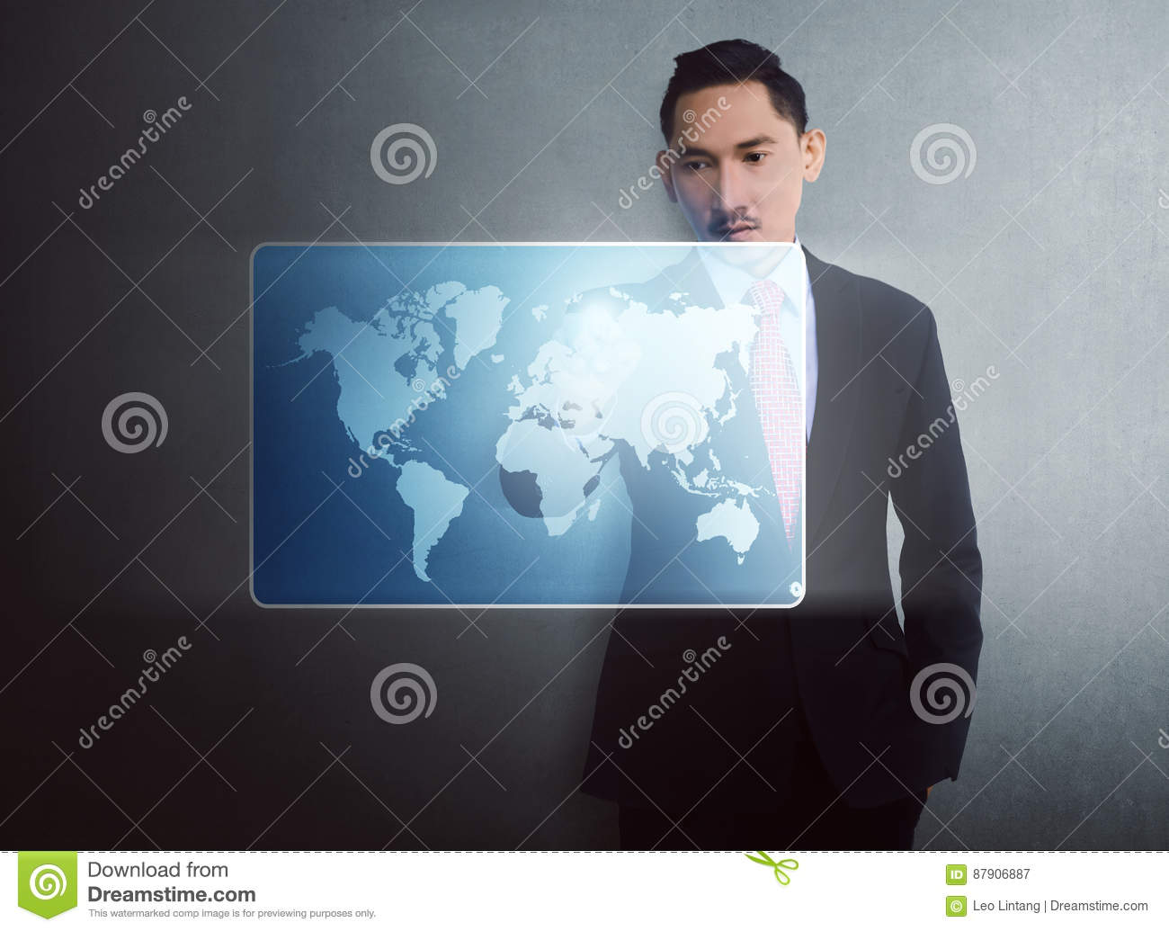Modern asian businessman touching virtual world map on digital s download comp gumiabroncs Choice Image