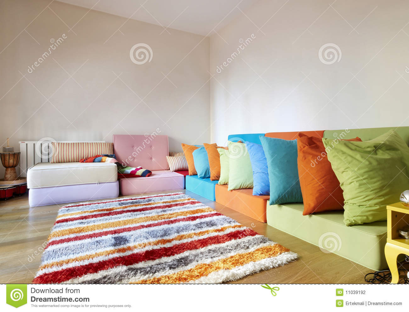 Modern Assorted Colored Rattan Sitting Room Stock Photo ...