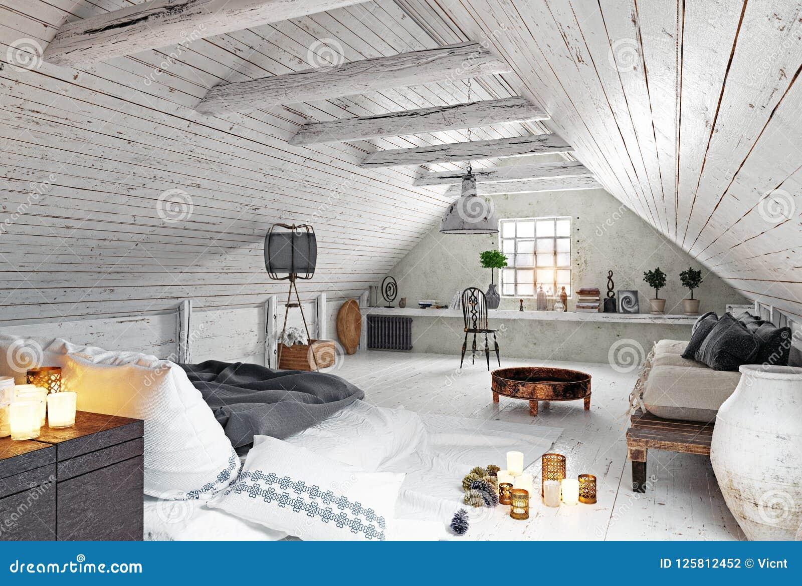 Modern Attic Bedroom Design Stock Illustration Illustration Of Comfortable Bedroom 125812452
