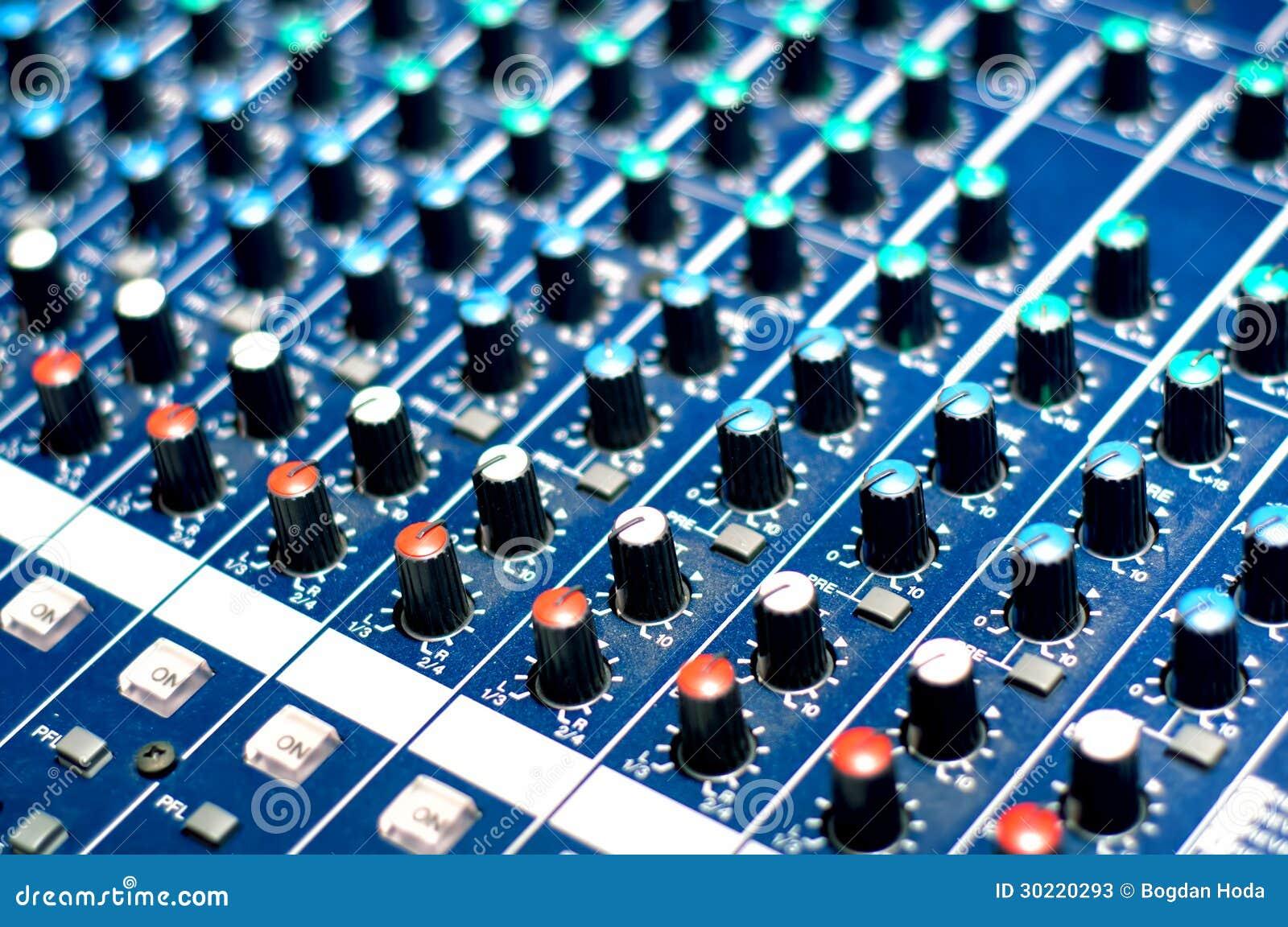 Modern audio music mixer buttons