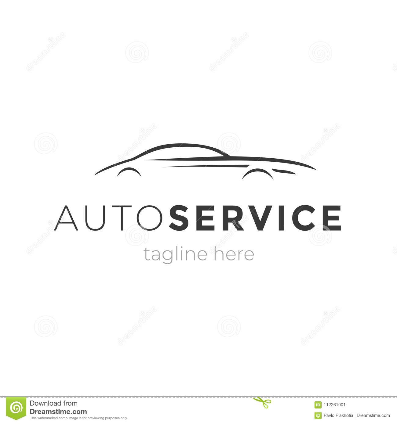 Modern Auto Service Emblem With Car Silhouette Logo Design Vector