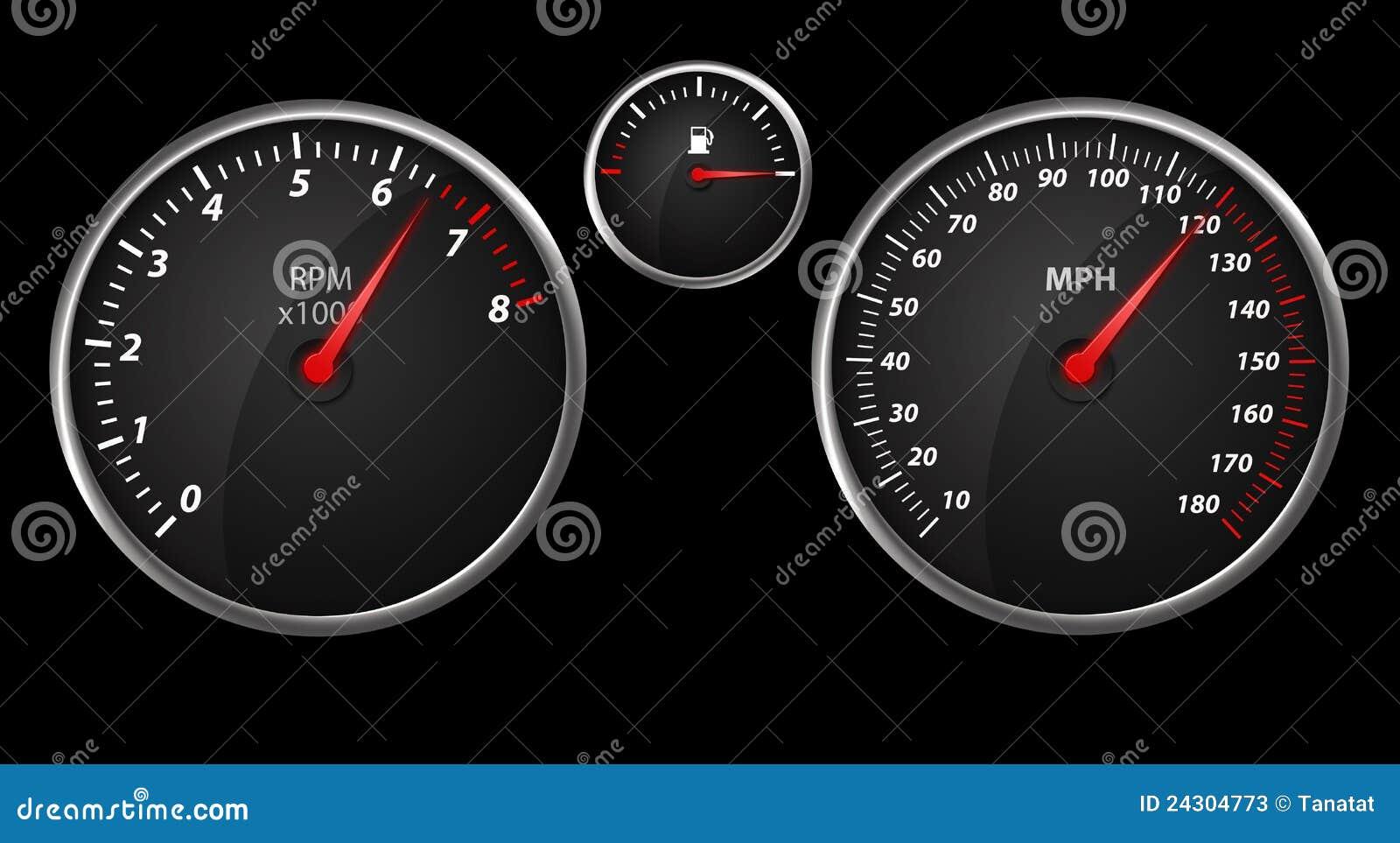 Modern Auto Speed Meter On Black Stock Photos Image