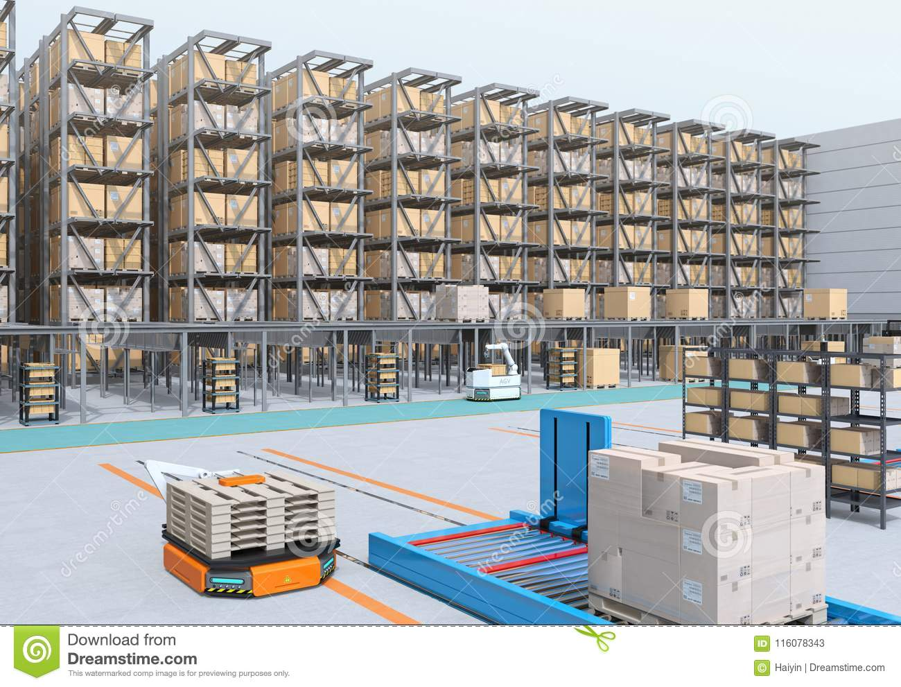 Modern Automated Logistics Center`s interior