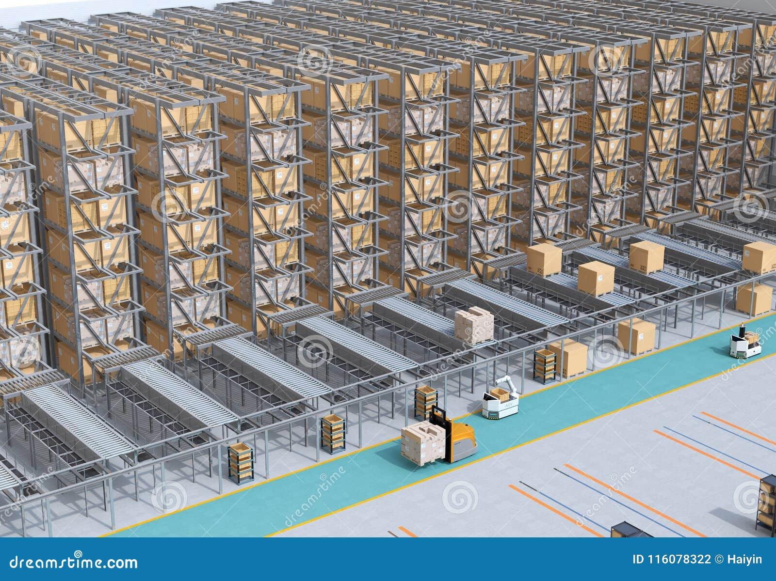 Modern Automated Logistics Center`s interior