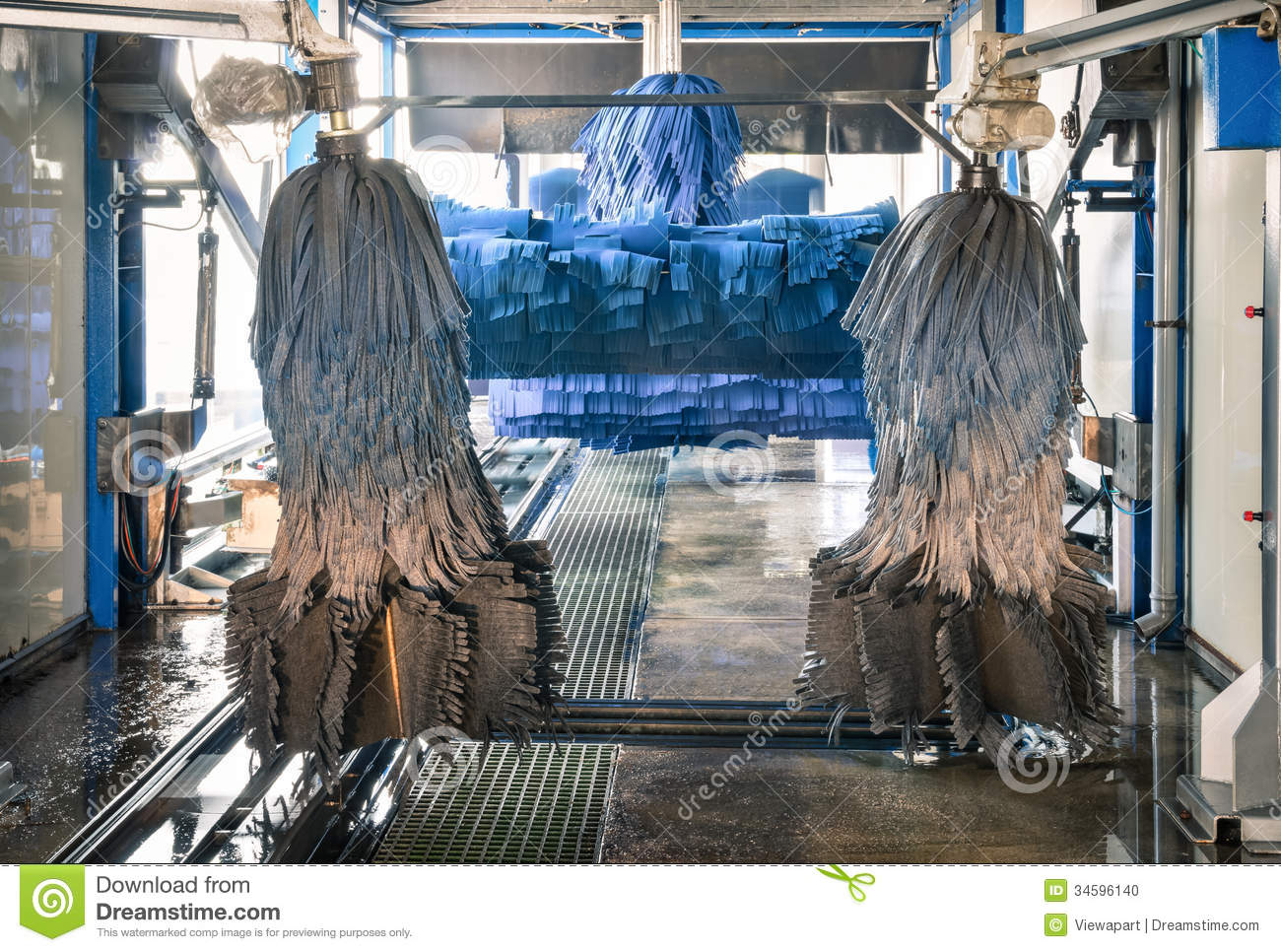 Modern Automatic Carwash With Blue Brushes Stock Photo