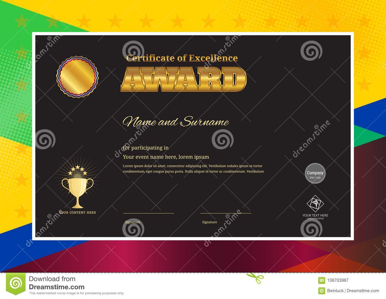 green certificate of completion template or sample blank background ...
