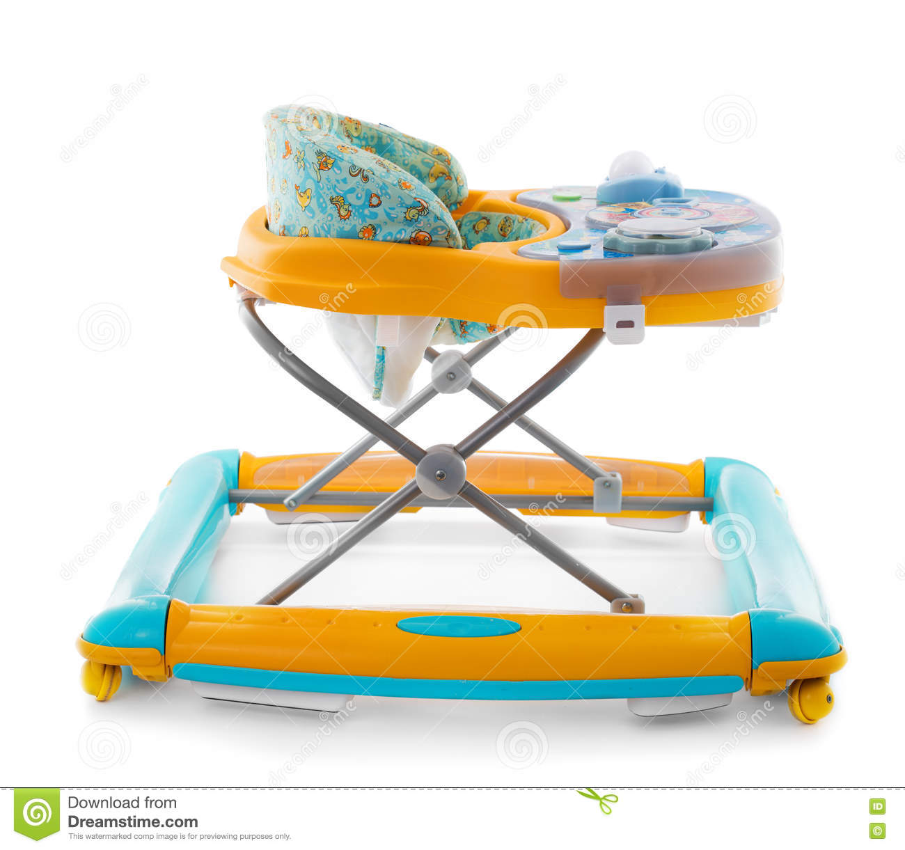 modern baby walker - modern baby walker with music and toys isolated stock photo
