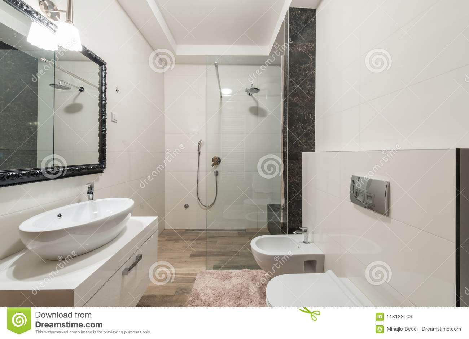 Modern badkamersbinnenland met douchecabine in luxevilla
