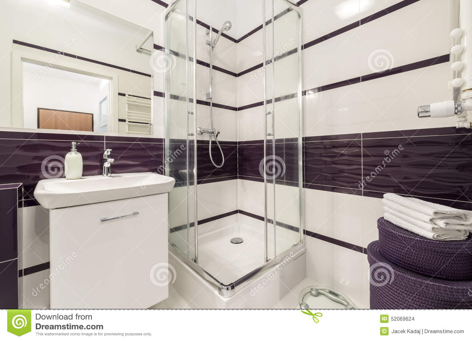 Modern Badrum Med Duschcubiclen Arkivfoto - Bild: 52069624