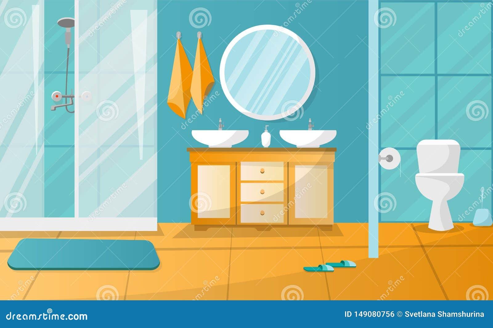 Modern badruminre med duschkabinen Badrumm?blemang - st?llningen med tv? vaskar, handdukar, v?tsketv?l, roundl avspeglar, toalett