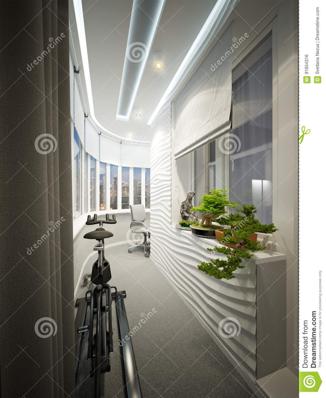 Modern Balcony Interior Design With Workplace And Sports Area Stock