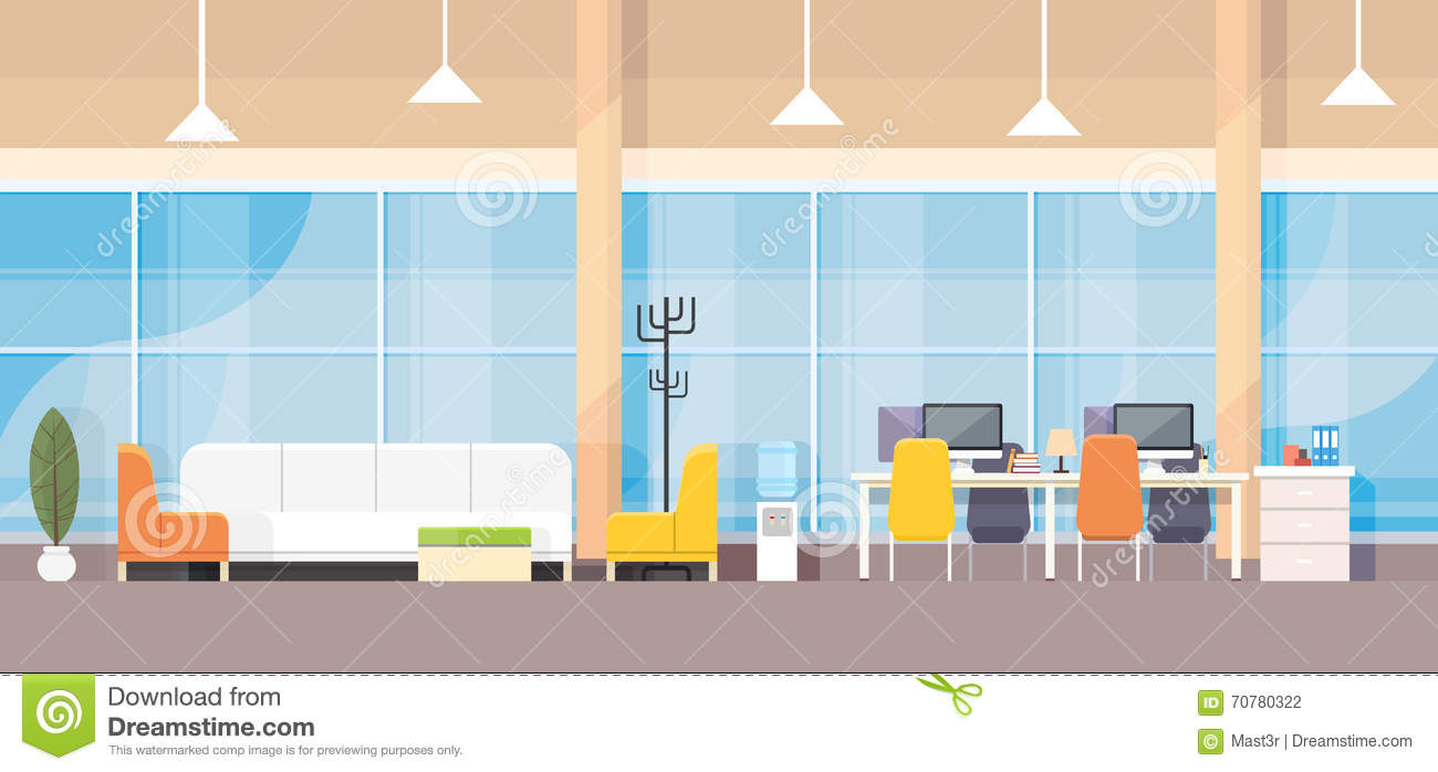 Modern bank office interior workplace desk flat design for Interior design images vector