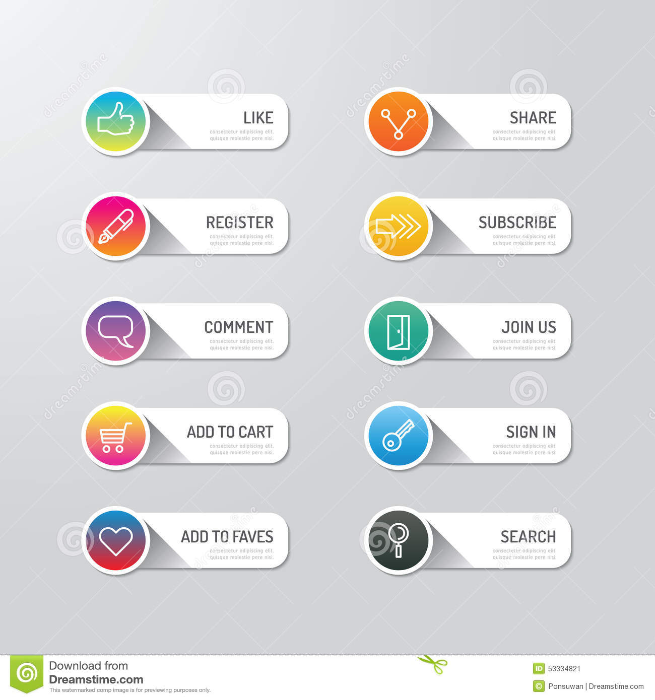 Modern Banner Button With Social Icon Design Options