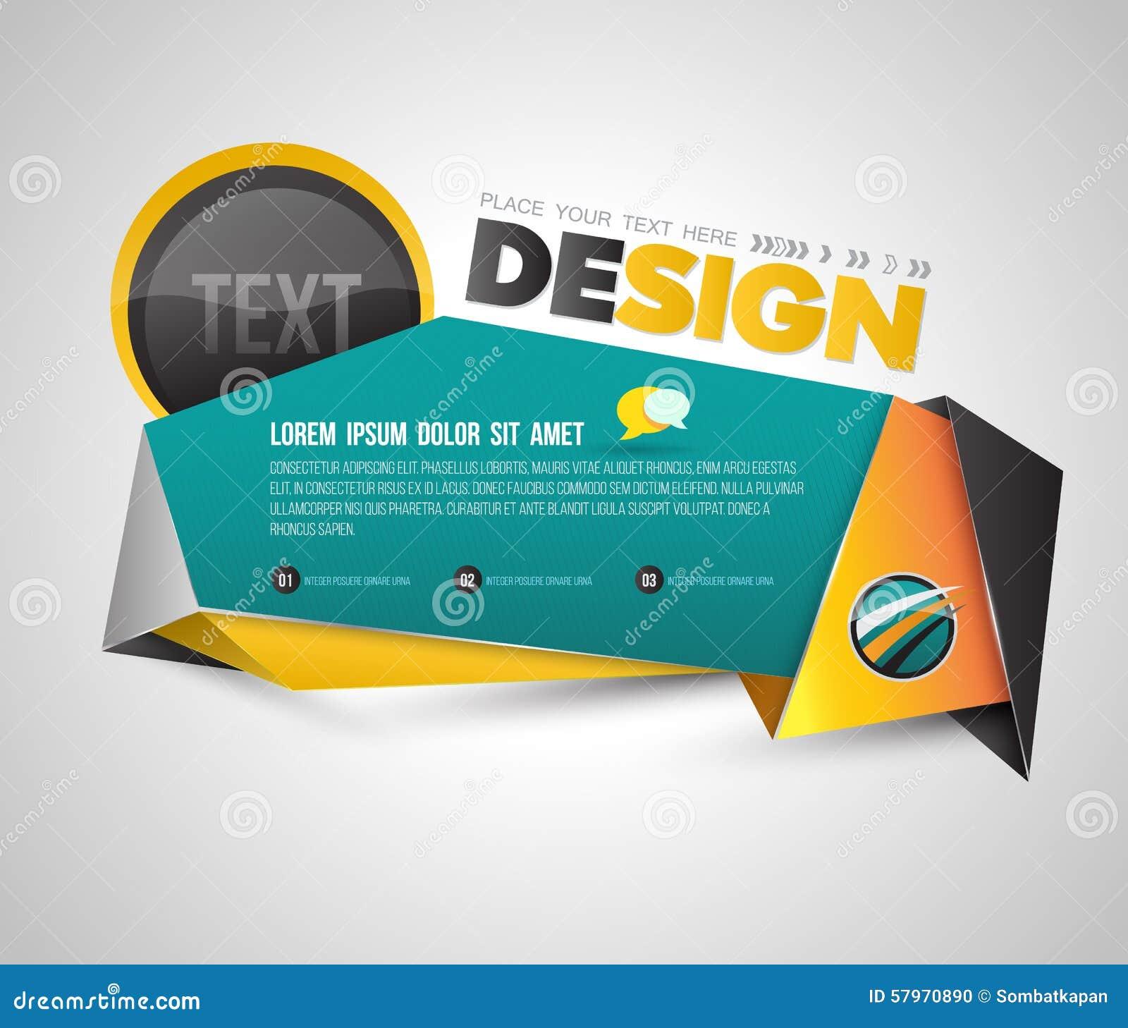 Modern Banner Origami 3D Style. Stock Vector ...