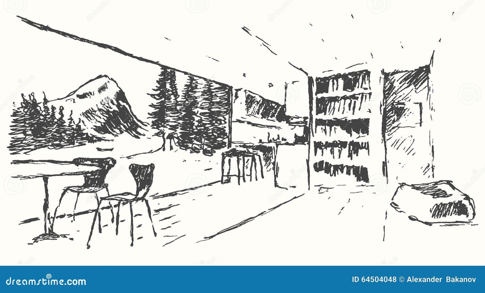 Modern bar restaurant cafe kitchen drawn sketch