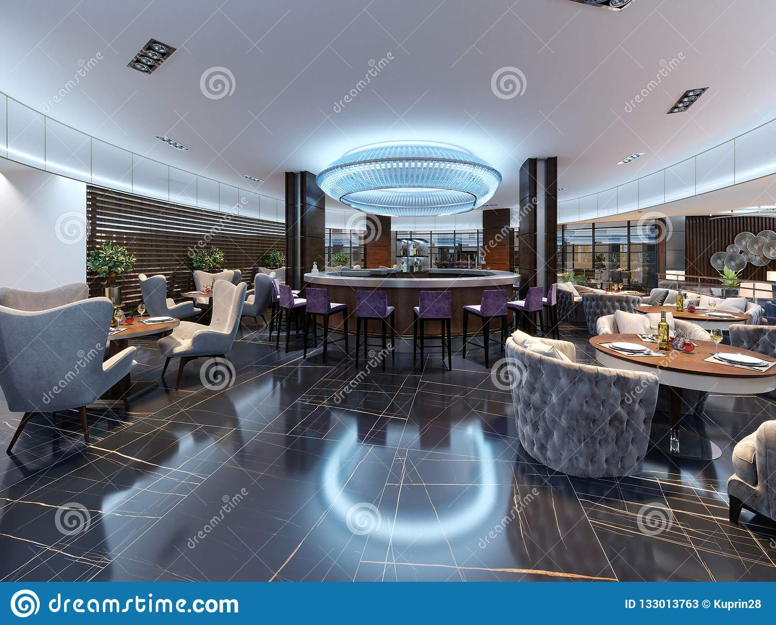 Modern Bar Restaurant In A Luxurious Modern Style With Elegant Furniture And Lighting Stock Illustration Illustration Of Design Hall 133013763