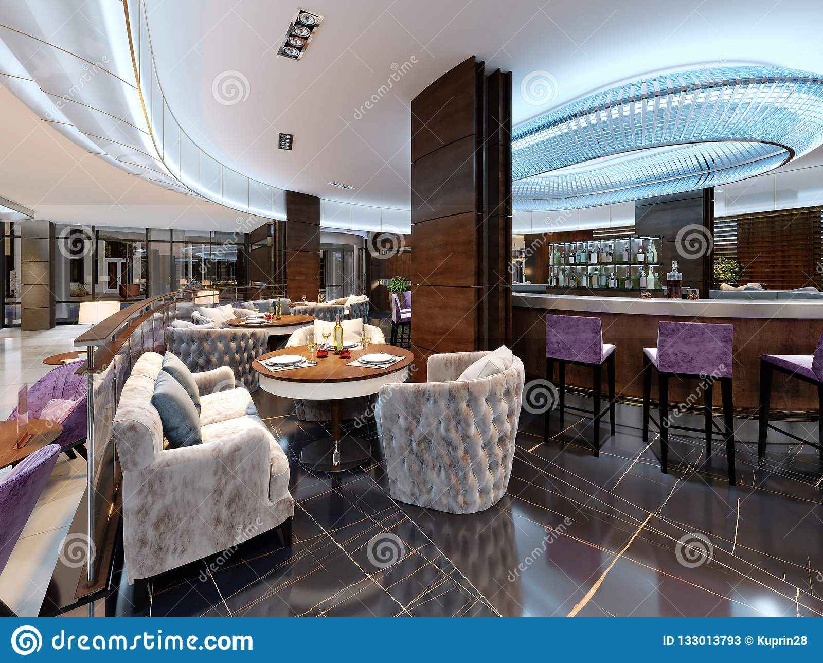 Modern Bar Restaurant In A Luxurious Modern Style With Elegant Furniture And Lighting Stock Illustration Illustration Of Chandelier Beverages 133013793