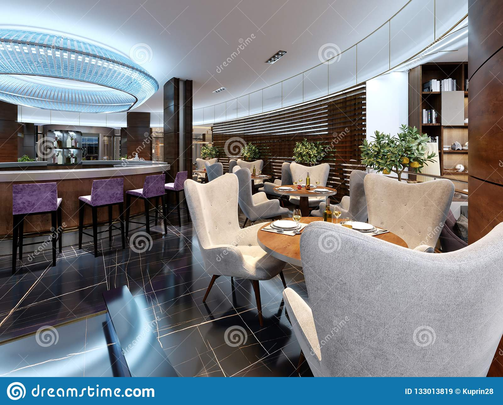 Modern bar restaurant in a luxurious modern style with elegant furniture and lighting