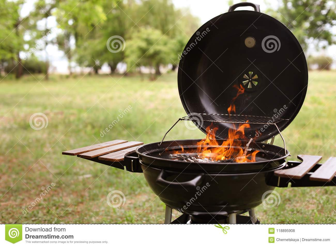 Modern Barbecue Grill With Fire Flames Stock Photo - Image