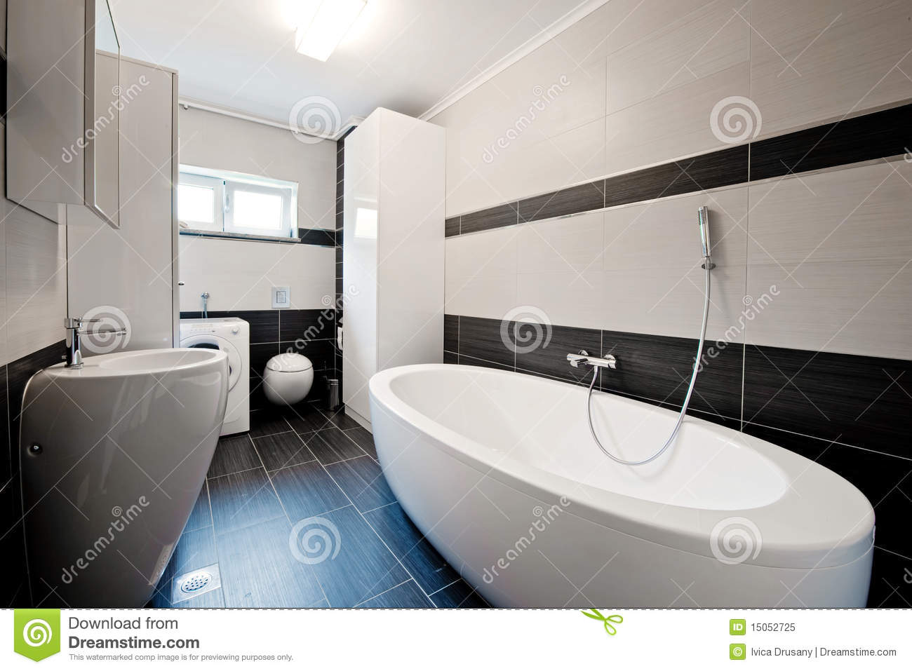 Modern bathroom 3d xray blue transparent collage royalty for Moderne badezimmer fliesen