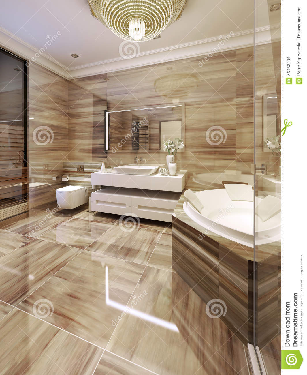 modern bathroom with access to sauna stock photo image. Black Bedroom Furniture Sets. Home Design Ideas