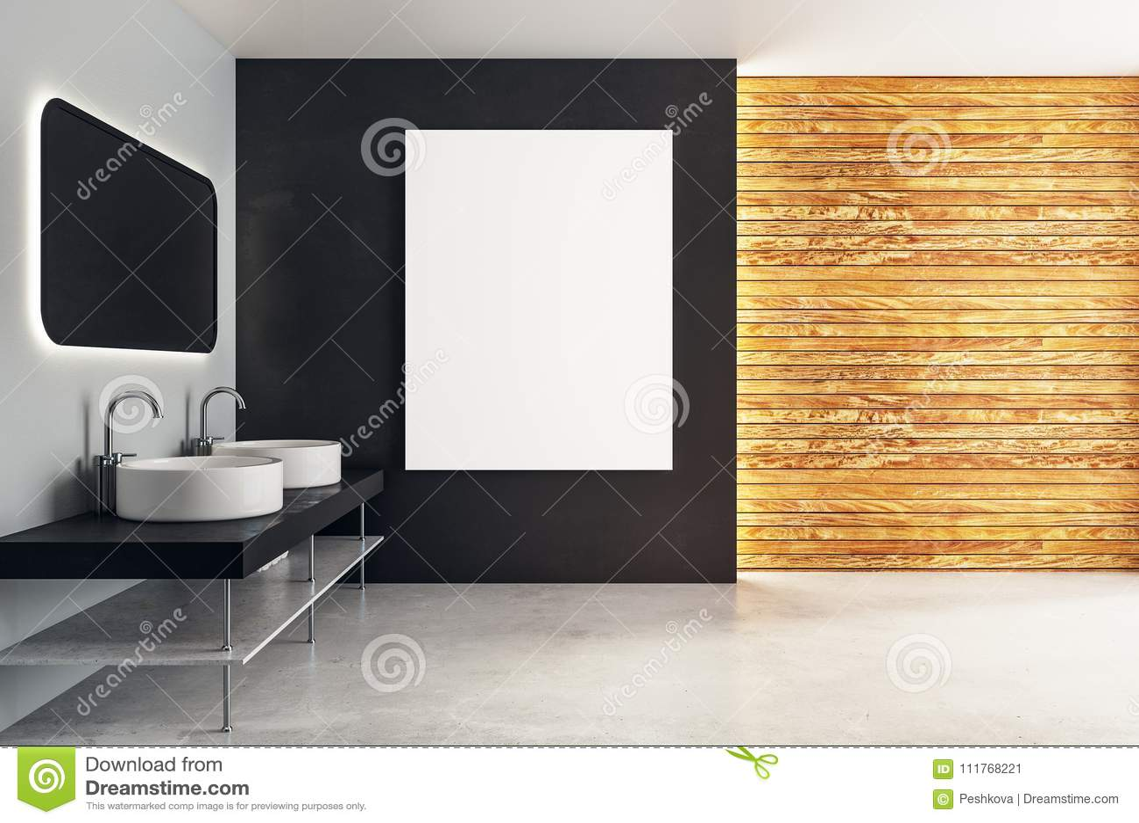 bathroom mirror reflection. Download Modern Bathroom With Banner Stock Illustration - Of Bathroom, Interior: 111768221 Mirror Reflection