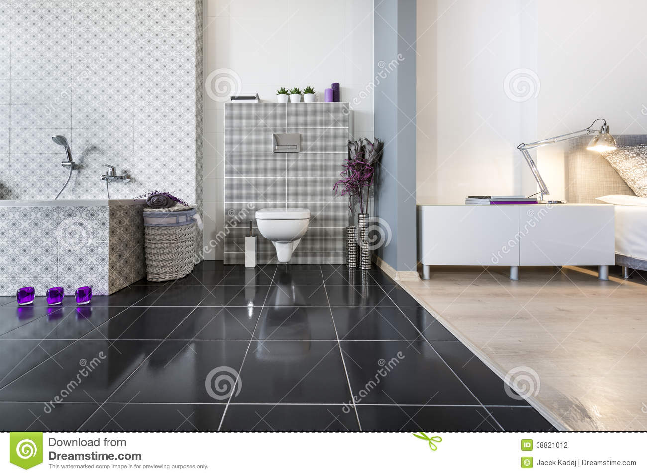 modern bathroom and bedroom wide view royalty free stock image 38821012. Black Bedroom Furniture Sets. Home Design Ideas