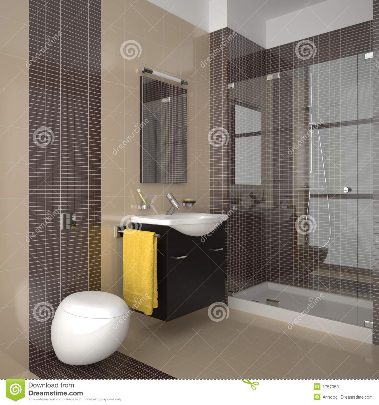 Modern Bathroom With Beige And Brown Tiles Stock Image - Image ...