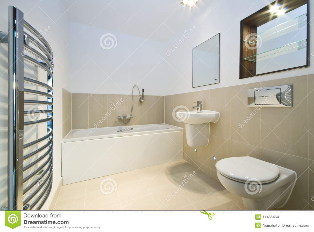 Modern Bathroom With Beige Tiled Walls Stock Images ...