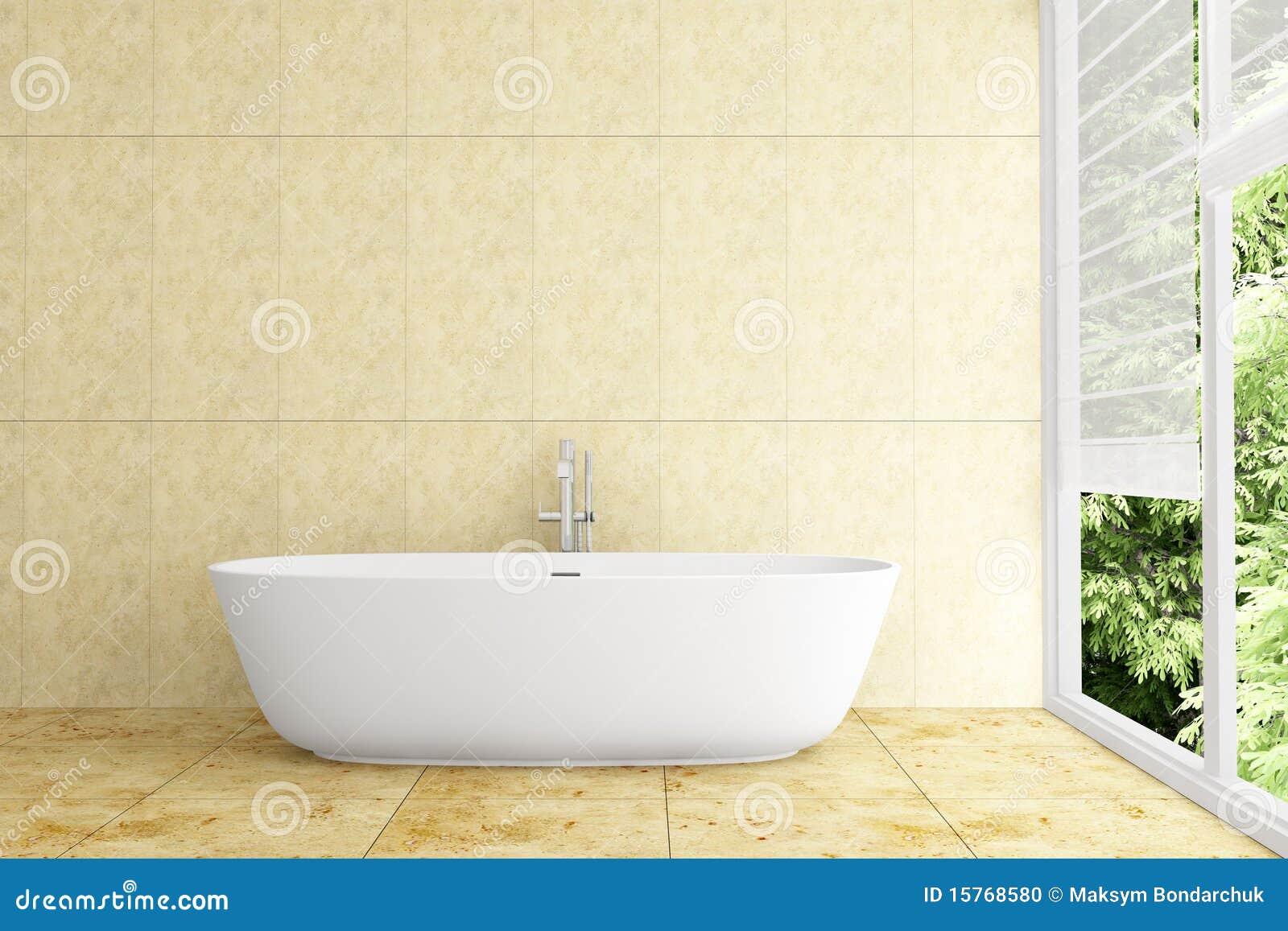 Modern Bathroom With Beige Tiles On Wall Stock Photo - Image: 15768580